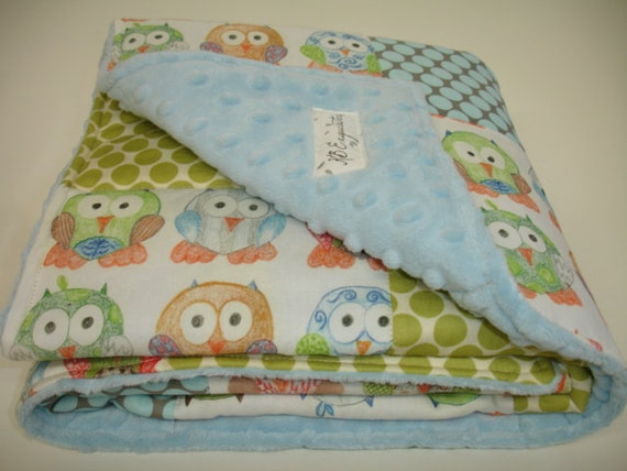 Short Legged Owls and Polkas Baby Minky Blanket 32 X 32 MADE TO ORDER