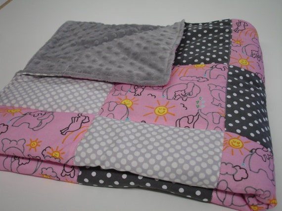 You Are My Sunshine Elephant Pink and Grey Minky  Blanket 32 X  32  READY TO SHIP On Sale