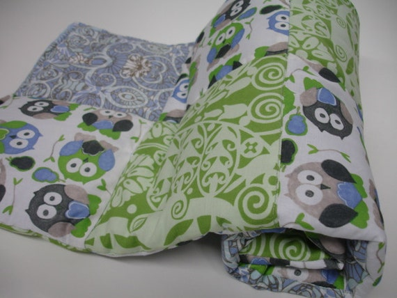 Short Legged Owls in Basil and Cornflower Minky Blanket MADE TO ORDER