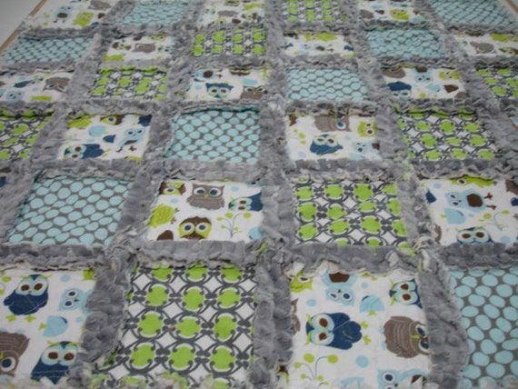 Modern Owls Patchwork Minky Rag Quilt 34 x 34  MADE TO ORDER