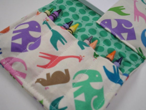 Zoo Menagerie in Teal  DELUXE Crayon Wallet