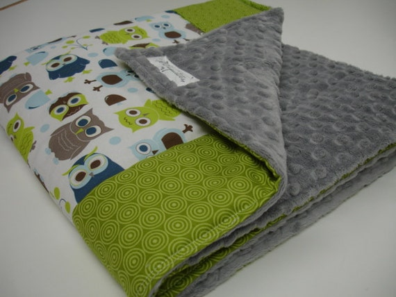 Modern Owls and Lime Green Circles Baby Blanket with Minky 32 x 32 MADE TO ORDER