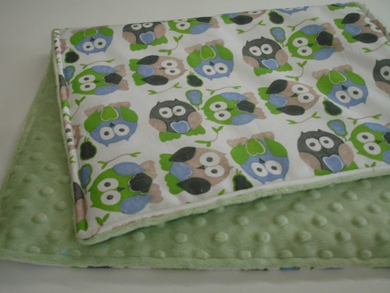 Short Legged Owls in Blue and Green Baby Changing Pad With SAGE GREEN Minky Back On Sale