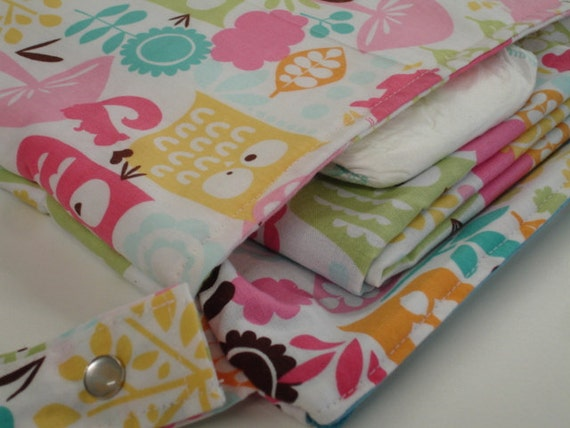Forest Life in Watermelon Diaper Wet Bag and Changing Mat Set READY TO SHIP
