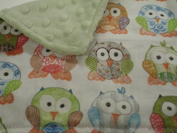 Short Legged Owls Baby Burp Cloth