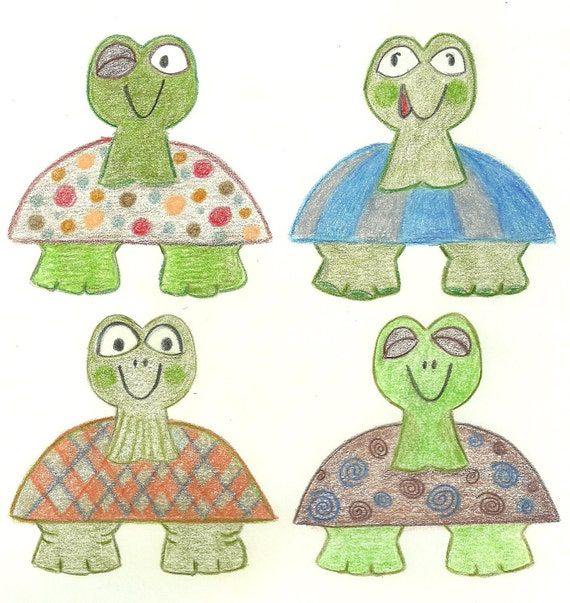 Long Neck Turtles Nursery Print Art 8 x 10