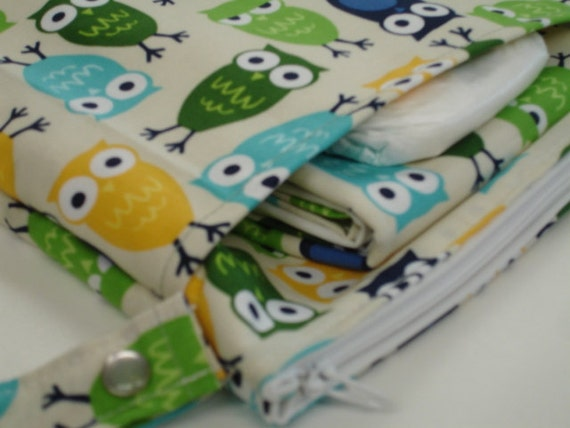 Urban Owls Diaper Wet Bag and Changing Mat Set READY TO SHIP