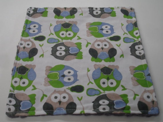 Short Legged Owls in Blue Baby Quick Wipe