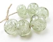 lampwork beads transparent green forest bubbles set
