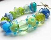 SALE lampwork glass beads blue green lime turquoise orphans mixed set encased dots crystal