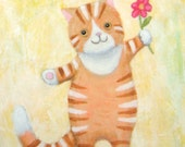 ORIGINAL illustration PAINTING Orange tabby Cat with flower MiKa Art