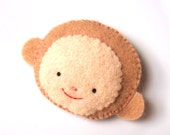 Felt brooch Cute Monkey Pin Badge Funky Animal Button MiKa Art Free shipping