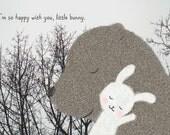 Bear Bunny Print Love Illustration Print Bear Rabbit Woodland Art Grey Black White Pastel Pink Home Wall Decor Cute Nursery Art Print MiKa