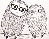 Owl Illustration PRINT Owl Ink Drawing Woodland Wedding Gift for Couple Black White Geek Nerd Hipster Owl Glasses 4x6 Modern Home Wall Decor