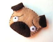 Pug Dog Felt Brooch Cute Funny Spring Fashion Accessory Tan Brown Puppy