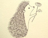 Hedgehog Illustration Print Ink Drawing Print Black & White Wall Art Woodland Cute Nursery Print Rustic Home Wall Decor Love Illustration