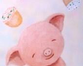 Cute Pig Illustration Print Cupcakes Kitchen Art Soft Pastel Grey Pink Dreamy Funny