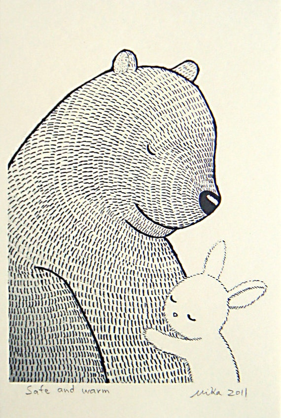 Bear & Bunny Illustration Print Ink Drawing Black White Home Wall Rustic Decor Love Illustration Woodland Nursery Art Rabbit Print 4x6 MiKa