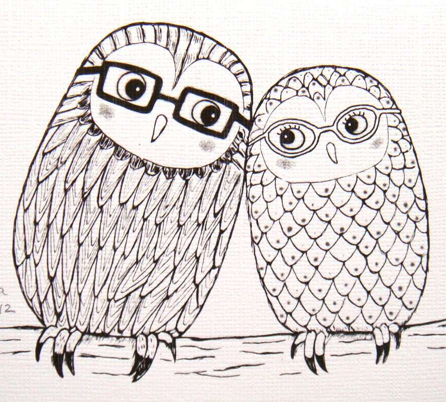 Cute owl love drawing - photo#13