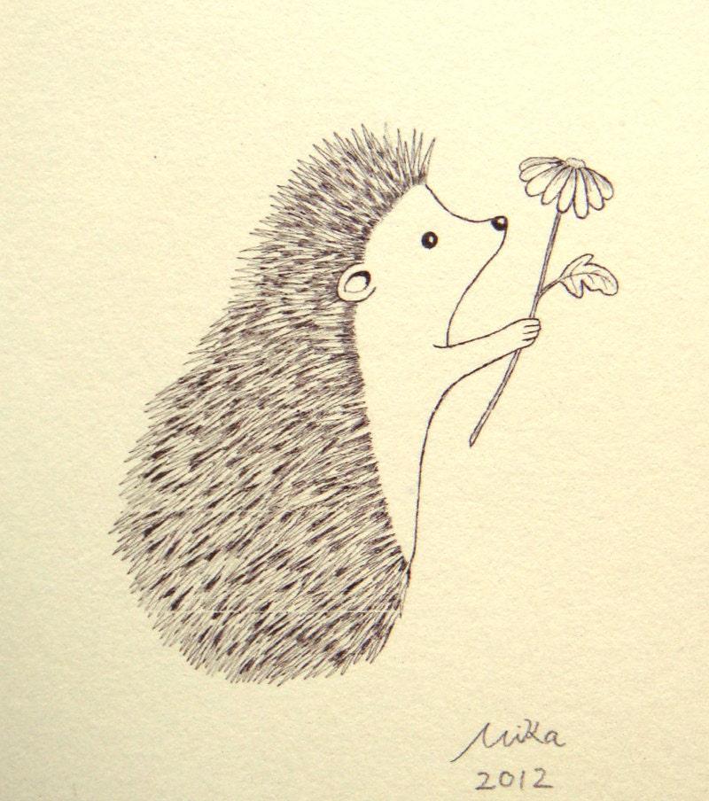 Ink Illustration: Hedgehog Illustration Print Ink Drawing Print Black & White