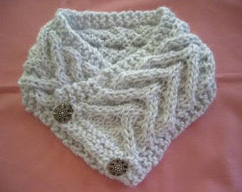 Knitted button cowl PDF pattern