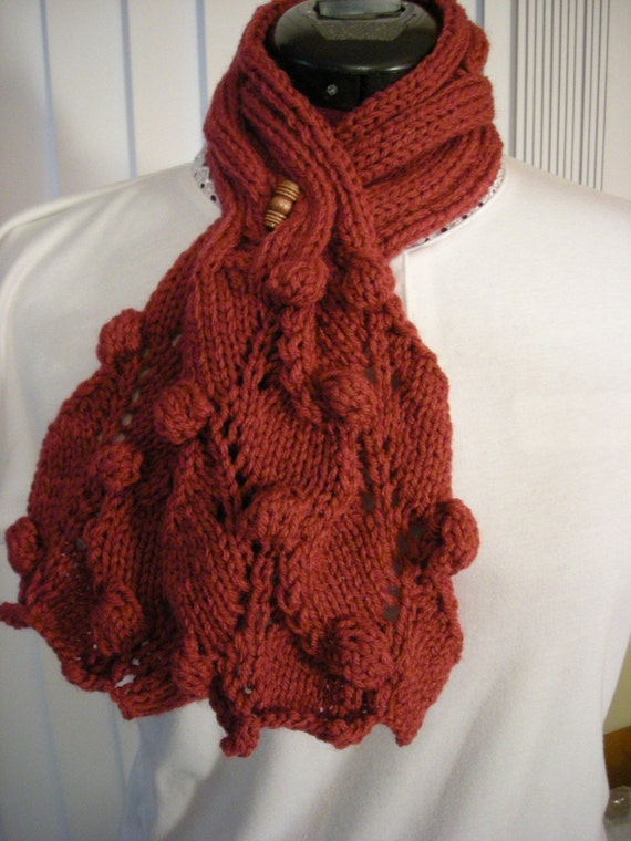 Hand Knit Grape Vine Scarf PDF pattern by brightcraft on Etsy