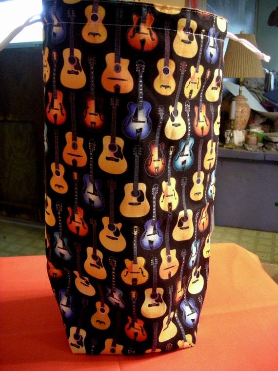 Knitting Project Bag   B - 13  Tall size   -  Guitars