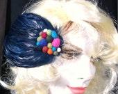 Navy Feather Barette with Rainbow Colored Beads..FELT Beads , Luscious Navy Hair Clip OOAK Rachelle Starr