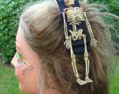 Skeleton Hair Clip, Movable Bones, Cream Colored Plastic,  Black Grosgrain Ribbon, French Barrette  Legs Wiggle, Geeky Spooky Hairpieces