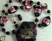 Pink Black Art Deco Geode OOAK Necklace,  Glass Beads and Big Chunk of Mother Earth Pendant  Tribal and Foil, City and Country
