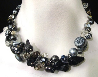 City Slicker    Black and White twisted Wire Necklace, Glass Porcelain One of a kind neckweaves by rachelle Starr