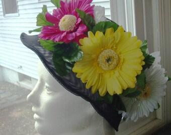 Black Flower Hat, Red Yellow Fuscia, Flowered Short Brim Hat, GIANT Daisies..Flower Power ..Girlfriend..Daisy Power