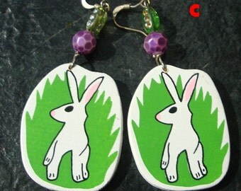 Funny Easter Easrrings, Wood Painted Earrings..Your Choice of White Rabbits, Easter Egg or Chick..Pick one