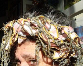NECK Scarf.. Spring Fashion..  Necklace    Boa..Headwrap..Pink Ribbon lavender Thread.... 5 Feet long
