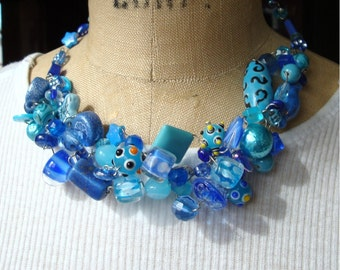 Turquoise Beaded Collar Necklace, Wireworked, Mermaid ...Sea Goddesss...Lady of the Lake  OOAK
