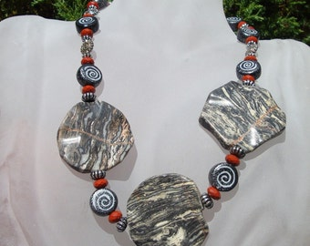SALE, Granite Stone Necklace, .POWERful Tribal Black, Red Jasper, Silver Spirals and My Ceramic Black and White  Spiral beads  METRO Warrior