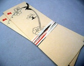 "ENVELOPES - ASIAN envelopes - 3"" x 8"" - brushed stamped drawing - off white - grey - red - NOS - vintage"