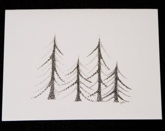 NOTECARD - TINY TREES - note card - blank - all occasion -without glitter