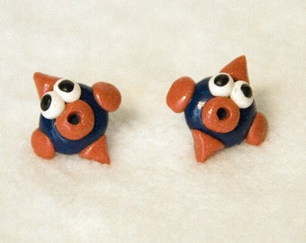 EARRINGS -  FISH lips - POST earrings - red and blue - fun flat fishy