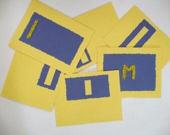CARDS - U of M - university of Michigan notecard set  - blank - any occasion - football - basketball