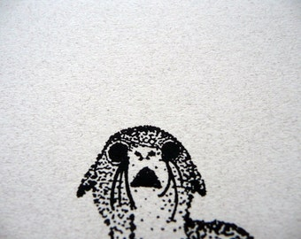 SAD SORRY SEAL notecard - blank -any occasion - apology - pen and ink drawing - get well
