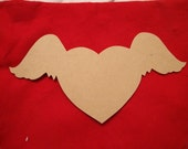 Winged Heart 1/4 Inch Thick 17 inch wide Unfinished MDF Mosaic Base/Shape