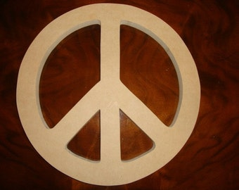 10 Inch Unfinished Mdf Wood Peace Sign 1/4 Inch Thick