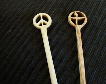 Peace Sign  and Flaming Chalice Chopstick Hair Sticks from Reclaimed Wood