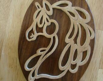 Handmade birch horse silhouette on reclaimed walnut plaque
