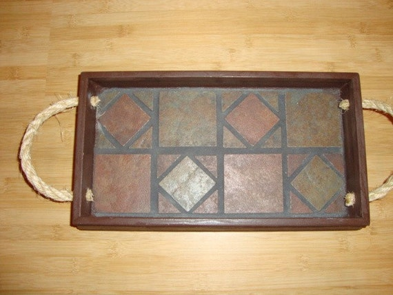 Wood Tray with Tile Interior and Rope Handles