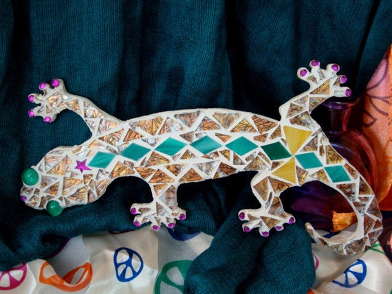 Stained Glass Mosaic Gecko
