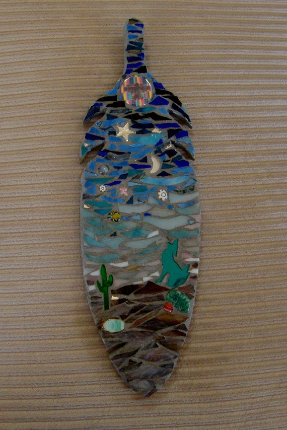 Stained Glass Mosaic Feather Desert Scene with Wolf Howling at Moon/Gifts Under 40 Dollars