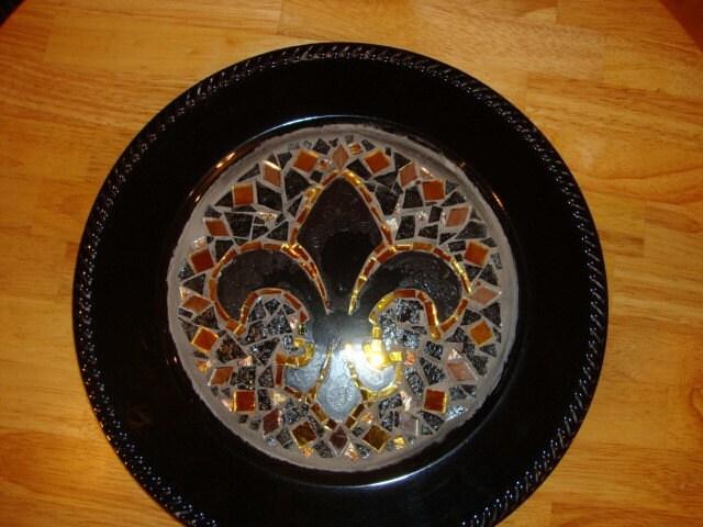 New orleans saints mosaic fleur de lis serving tray - Fleur de lis serving tray ...