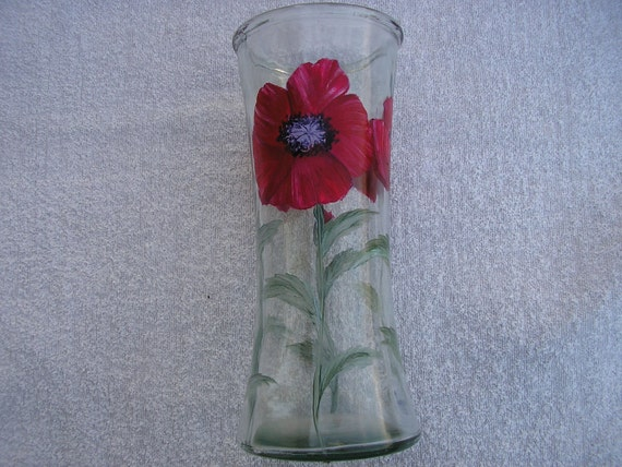 Painted Poppy Vase Hand Painted Poppies Glass Vase Red Poppies